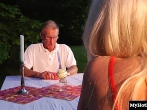 Old stud gets his long dong sucked before pounding a blonde slut