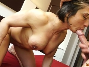 Athletic brunette hoe with hard muscles blows and fucks doggystyle