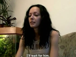 Kinky Czech girl Elishka jerks off and sucks big cock