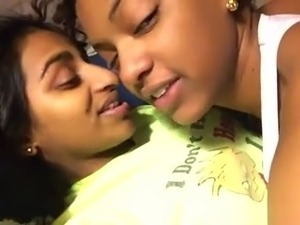 2 Cute Black Lesbians Make Out In Bed