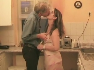 German couple fucking in the kitchen