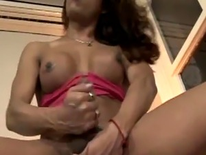 Latina shemale masturbating in solo action