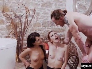 Insatiable cuties have a blast while riding a monster dick
