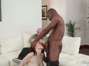 Cum loving redhead gets fucked by a black stud in front of her cuckold BF