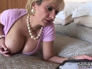 Cheating british milf lady sonia exposes her giant naturals