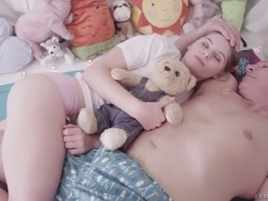 Adorable pale skin teen chick seduced and fucks in the bedroom