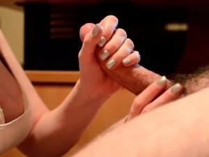 Hot wife stroke and blows husbands dick until he cums all over her