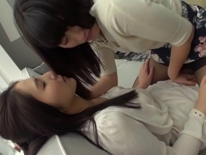Japanese lesbians licking cootchie and using their toys
