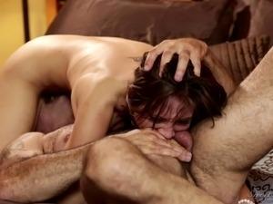 Teen honey gets nasty and deepthroats an older man's cock