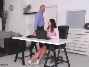 Lovely and young brunette office girl boned hard with big cocks at work