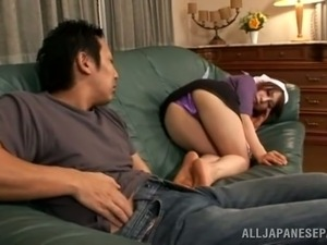 Japanese Maid Shows Her Panties to Her Boss so He Can Jerk Off