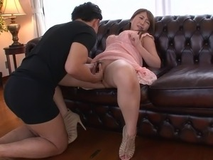 Japanese girl has a leg shaking orgasm while bent over