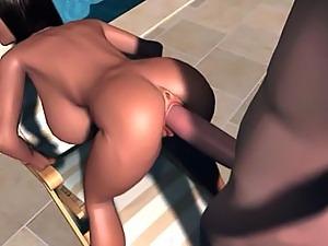 Hot Brunette Anime Babe Taking Humongous Hose