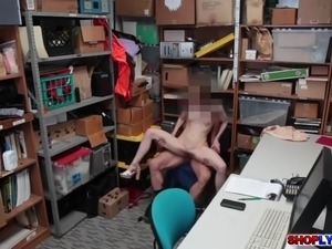 Skinny thief Alina drilled by a giant dick