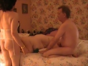 Busty mature wife was useless while grey haired buddy has fun with crossdresser
