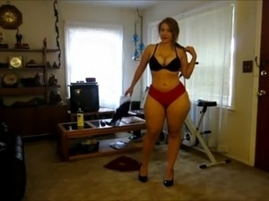 Curvy amateur stripping