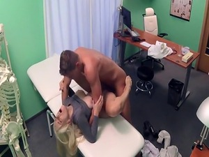 Busty blonde asked doctor fuck her