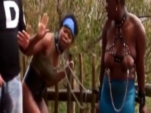 Outdoor nipple torment and spanking with nasty African sluts