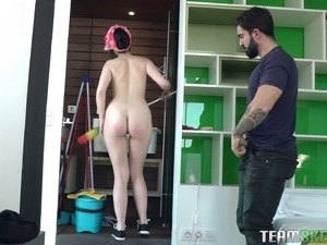 Amazing maid cleans the house naked and gets fucked by her boss