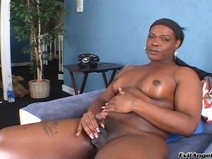 Horny ebony shemale stroking and teasing her cock in a masturbating solo clip