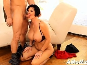 Juicy pussy of mature chick is roughly group-fucked