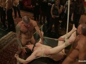 Josh West gets bounded and gangbanged at private gay party
