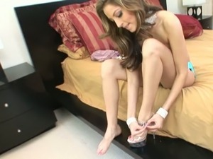 Luxurious lady in high heel shoes tries on new panties before banging