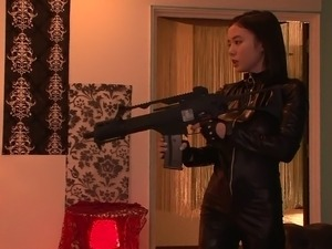Foxy Asian milf in a leather body suit moans while getting slammed hardcore