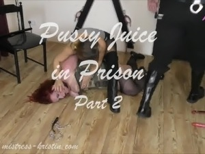 Mistress Kristin - Pussy Juice in Prison - Strap on BDSM