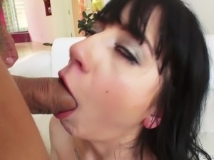 Charlotte Sartre makes a cock hard before bending over for anal sex