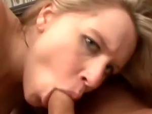 Pregnant blonde gets fucked on the couch