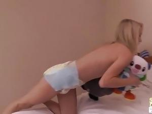 Chloe looking very cute in her diaper