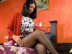 Older milf latina is playing with her sexy body with adult toys