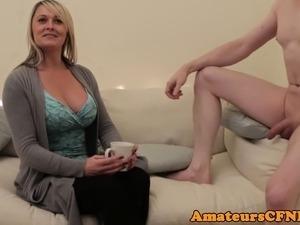 Busty CFNM britt cocksucks cheating husband
