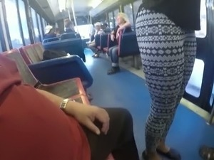 Spoiled bitch is fucking upskirt in a public bus right in front of other...