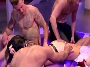 Swinger party gets hot foursome group massage