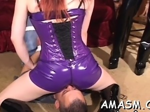Babes in female domination scenes smothering excited boy