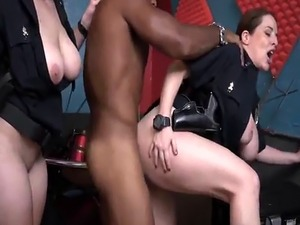 Two busty cops make black guy fuck their cunts
