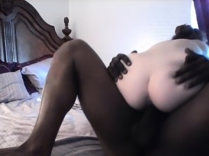 Big black cock invades interracial sex loving white ass