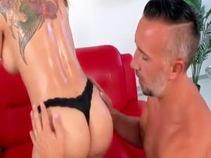 After massage butler bangs busty cheating wife