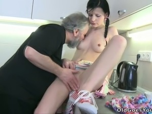College dude & his grey old uncle fuck his girlfriend