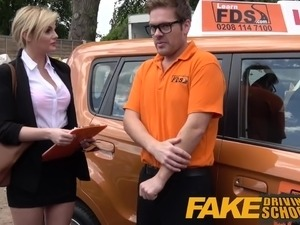 Fake Driving School Posh horny busty examiner swallows