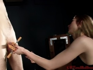 Very attractive cute woman punish her  lover with various fetish gadgets