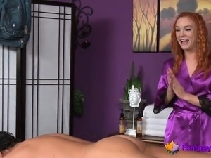 Redhead gets turned on by massaging