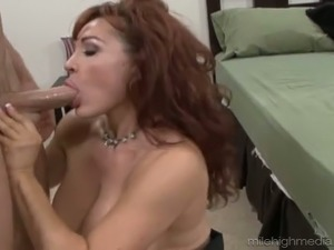 Horny guy kisses with juicy pussy of one busty and voluptuous brunette milf