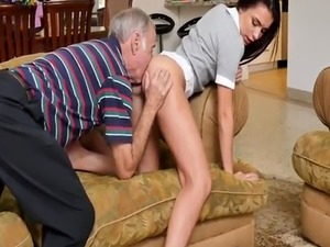 Young mouth full of cum and nasty old man fucking Riding the Old Wood!