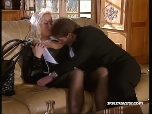 Aroused blonde beauty Silvia Saint an hot foreplay in the living room