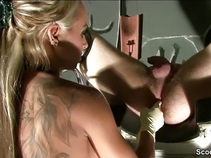 German Femdom Teen Give Slave Prostata Massage to Cum