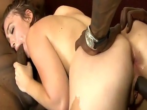 Horny babe pussy and asshole reamed hard by black cocks