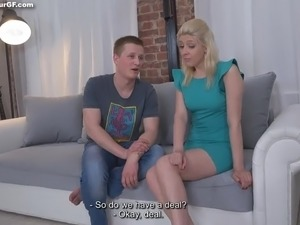 Lewd cuckold BF watches the way his blonde girlfriend gives a hot cock ride